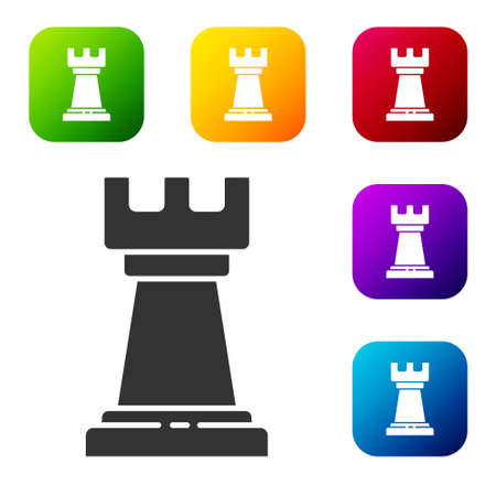 Black Business strategy icon isolated on white background. Chess symbol. Game, management, finance. Set icons in color square buttons. Vector Illustration Illustration