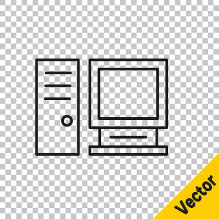 Black line Computer monitor icon isolated on transparent background. PC component sign. Vector Illustration Imagens - 147265865