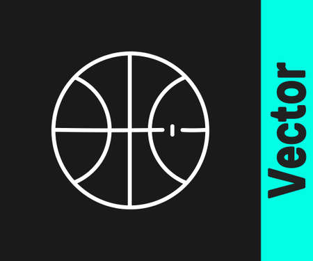 White line Basketball ball icon isolated on black background. Sport symbol. Vector Illustration