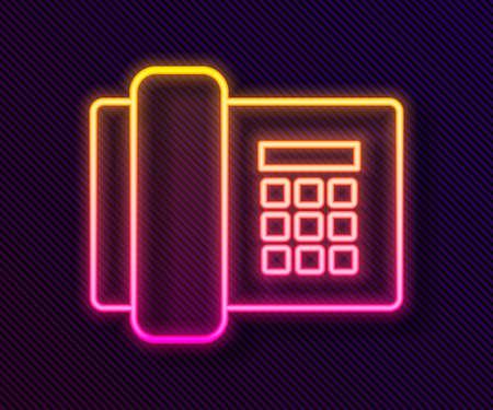 Glowing neon line Telephone icon isolated on black background. Landline phone. Vector Illustration