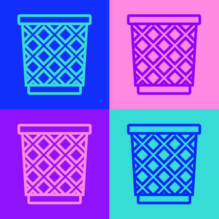 Pop art line Trash can icon isolated on color background. Garbage bin sign. Recycle basket icon. Office trash icon. Vector Illustration Иллюстрация