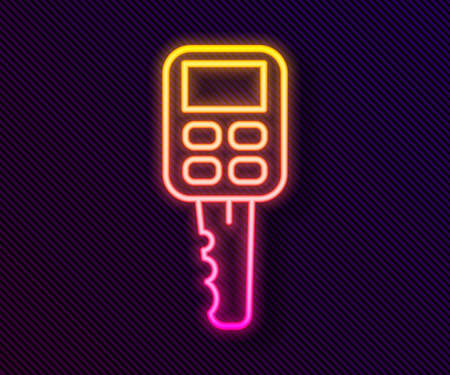 Glowing neon line Car key with remote icon isolated on black background. Car key and alarm system. Vector Illustration Ilustração