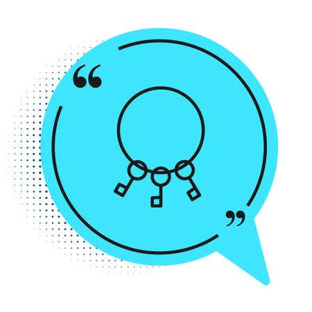 Black line Bunch of keys icon isolated on white background. Blue speech bubble symbol. Vector Illustration Ilustração