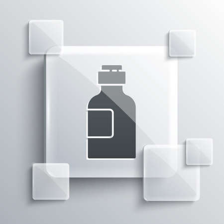 Grey Bottle of medicine syrup icon isolated on grey background. Square glass panels. Vector Illustration