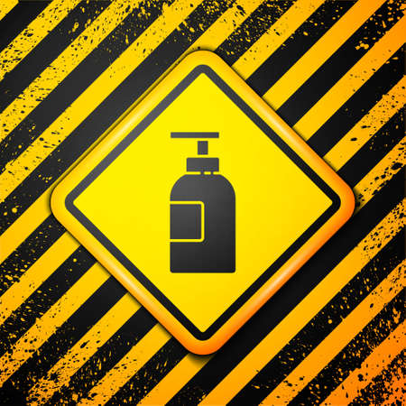Black Hand sanitizer bottle icon isolated on yellow background. Disinfection concept. Washing gel. Alcohol bottle for hygiene. Warning sign. Vector Illustration Ilustracja