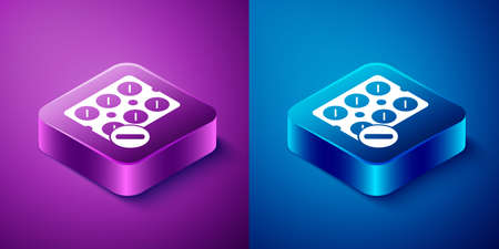 Isometric Pills in blister pack icon isolated on blue and purple background. Medical drug package for tablet, vitamin, antibiotic, aspirin. Square button. Vector Illustration