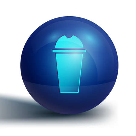 Blue Milkshake icon isolated on white background. Plastic cup with lid and straw. Blue circle button. Vector Ilustração