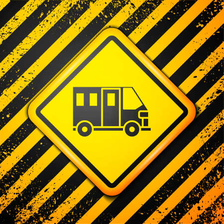 Black School Bus icon isolated on yellow background. Public transportation symbol. Warning sign. Vector
