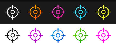 Set Target sport icon isolated on black and white background. Clean target with numbers for shooting range or shooting. Vector Ilustração