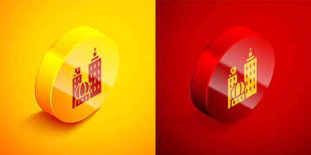 Isometric City landscape icon isolated on orange and red background. Metropolis architecture panoramic landscape. Circle button. Vector