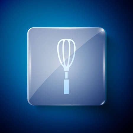 White Kitchen whisk icon isolated on blue background. Cooking utensil, egg beater. Cutlery sign. Food mix symbol. Square glass panels. Vector Vectores