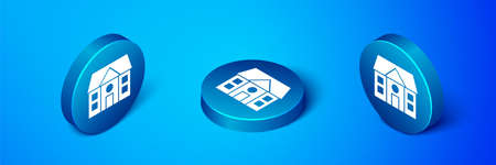 Isometric House icon isolated on blue background. Home symbol. Blue circle button. Vector Illusztráció