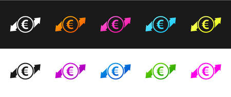 Set Financial growth and euro coin icon isolated on black and white background. Increasing revenue. Vector Çizim