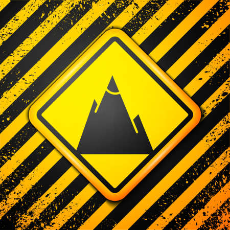 Black Mountains icon isolated on yellow background. Symbol of victory or success concept. Warning sign. Vector Ilustração