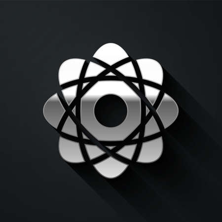 Silver Atom icon isolated on black background. Symbol of science, education, nuclear physics, scientific research. Long shadow style. Vector Illusztráció