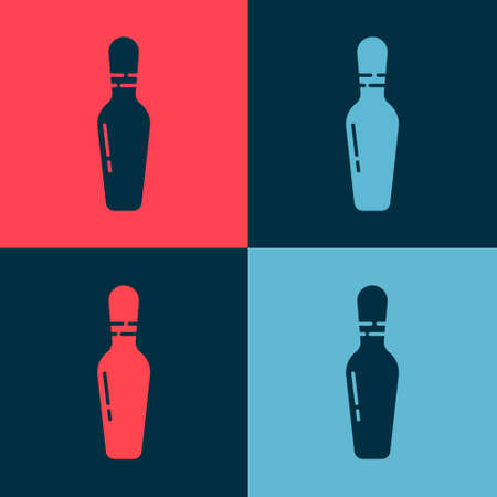 Pop art Bowling pin icon isolated on color background. Vector 写真素材 - 147587805