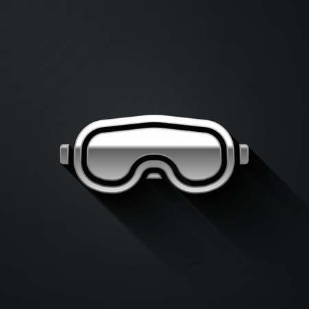 Silver Ski goggles icon isolated on black background. Extreme sport. Sport equipment. Long shadow style. Vector