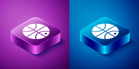 Isometric Basketball ball icon isolated on blue and purple background. Sport symbol. Square button. Vector