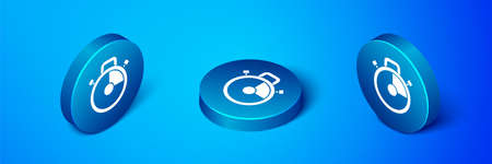 Isometric Stopwatch icon isolated on blue background. Time timer sign. Chronometer sign. Blue circle button. Vector Çizim
