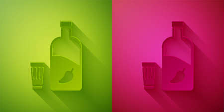 Paper cut Vodka with pepper and glass icon isolated on green and pink background. Ukrainian national alcohol. Paper art style. Vector 向量圖像