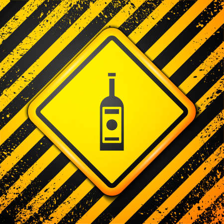 Black Glass bottle of vodka icon isolated on yellow background. Warning sign. Vector Illustration