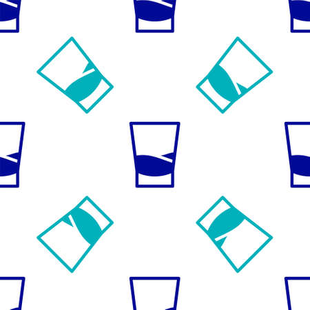 Blue Glass of vodka icon isolated seamless pattern on white background. Vector Illustration