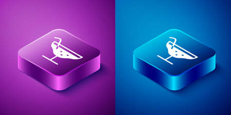Isometric Cocktail icon isolated on blue and purple background. Square button. Vector Illustration