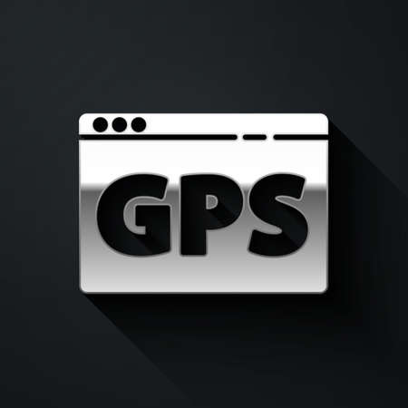Silver Gps device with map icon isolated on black background. Long shadow style. Vector Ilustrace
