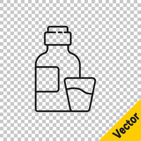 Black line Bottle of medicine syrup and dose measuring cup solid icon isolated on transparent background. Vector