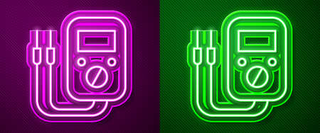 Glowing neon line Ampere meter, multimeter, voltmeter icon isolated on purple and green background. Instruments for measurement of electric current. Vector