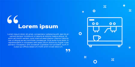 White line Coffee machine icon isolated on blue background. Vector