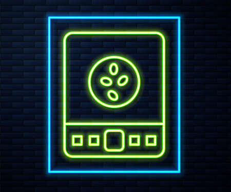 Glowing neon line Electronic coffee scales icon isolated on brick wall background. Weight measure equipment. Vector Illustration