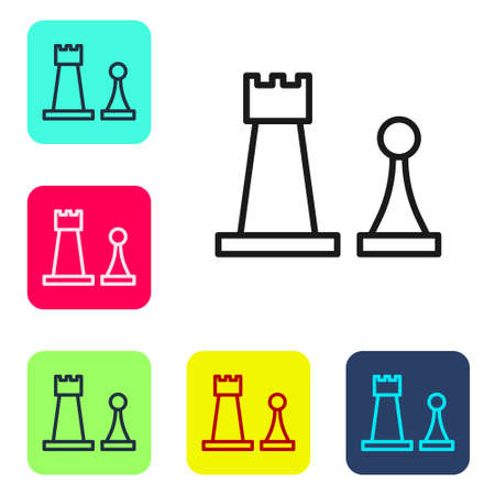 Black line Chess icon isolated on white background. Business strategy. Game, management, finance. Set icons in color square buttons. Vector Illustration