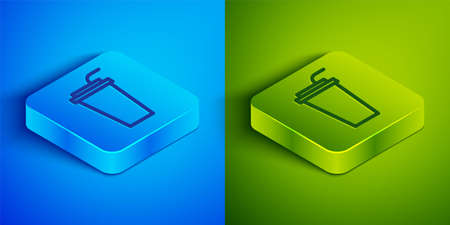 Isometric line Paper glass with drinking straw and water icon isolated on blue and green background. Soda drink glass. Fresh cold beverage symbol. Square button. Vector