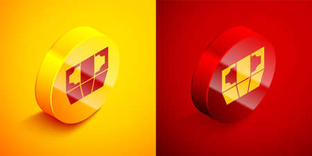 Isometric Stacks paper money cash icon isolated on orange and red background. Money banknotes stacks. Bill currency. Circle button. Vector Illustration Ilustrace