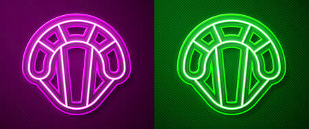 Glowing neon line Parachute icon isolated on purple and green background. Extreme sport. Sport equipment. Vector