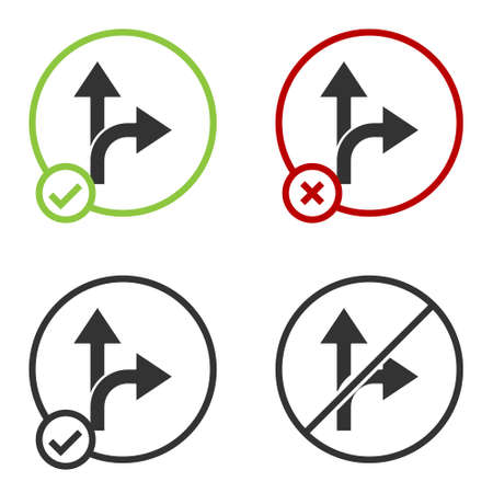 Black Road traffic sign. Signpost icon isolated on white background. Pointer symbol. Isolated street information sign. Direction sign. Circle button. Vector