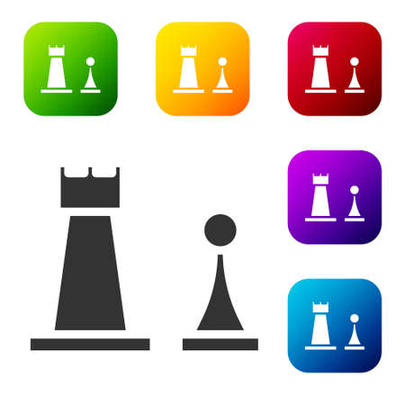 Black Chess icon isolated on white background. Business strategy. Game, management, finance. Set icons in color square buttons. Vector Illustration Illustration