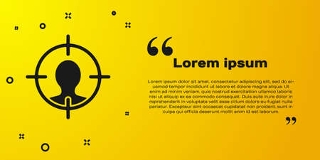 Black Head hunting concept icon isolated on yellow background. Business target or Employment sign. Human resource and recruitment. Vector Ilustração