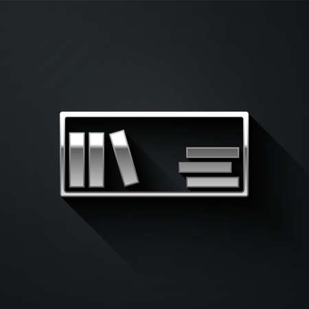 Silver Shelf with books icon isolated on black background. Shelves sign. Long shadow style. Vector 向量圖像