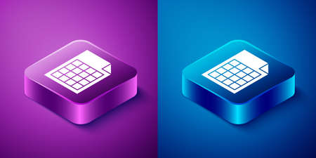 Isometric File document icon isolated on blue and purple background. Checklist icon. Business concept. Square button. Vector Ilustrace