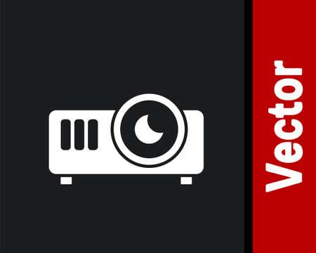 White Presentation, movie, film, media projector icon isolated on black background. Vector Ilustrace