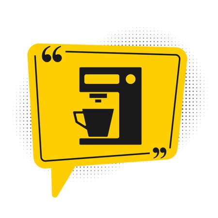Black Coffee machine icon isolated on white background. Yellow speech bubble symbol. Vector Illustration