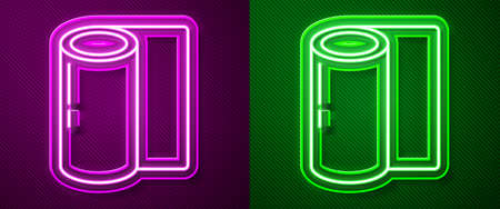 Glowing neon line Fitness mat roll icon isolated on purple and green background. Yoga mat rolled. Sport equipment. Vector