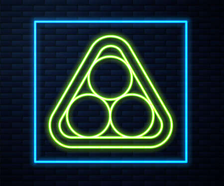 Glowing neon line Billiard balls in a rack triangle icon isolated on brick wall background. Vector