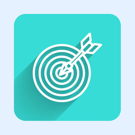 White line Target with arrow icon isolated with long shadow. Dart board sign. Archery board icon. Dartboard sign. Business goal concept. Green square button. Vector Ilustrace