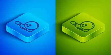 Isometric line Bowling pin and ball icon isolated on blue and green background. Sport equipment. Square button. Vector
