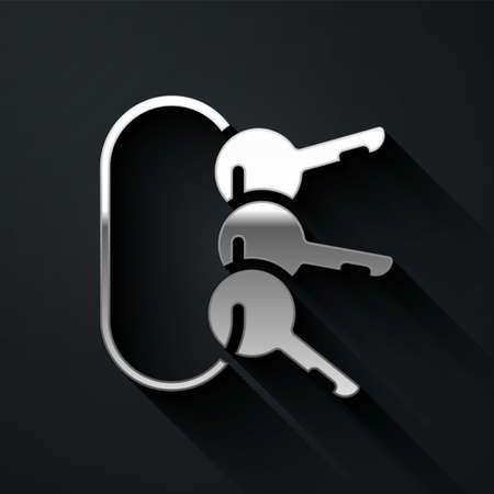 Silver Bunch of keys icon isolated on black background. Long shadow style. Vector Ilustrace