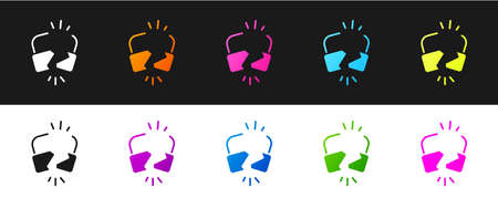 Set Broken or cracked lock icon isolated on black and white background. Unlock sign. Vector