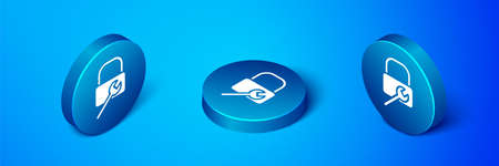 Isometric Lock repair icon isolated on blue background. Padlock sign. Security, safety, protection, privacy concept. Blue circle button. Vector